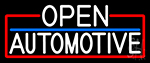 White Open Automotive With Red Border Neon Sign