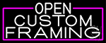 White Open Custom Framing With Pink Border Neon Sign