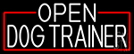 White Open Dog Trainer With Red Border Neon Sign