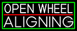 White Open Wheel Aligning With Green Border Neon Sign