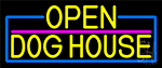 Yellow Open Dog House With Blue Border Neon Sign