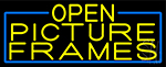 Yellow Open Picture Frames With Blue Border Neon Sign