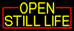 Yellow Open Still Life With Red Border Neon Sign