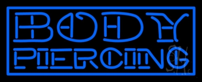 Blue Body Piercing Neon Sign