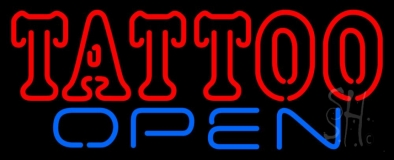 Double Stroke Tattoo Open Neon Sign