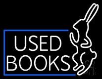 Used Books With Rabbit Logo Neon Sign