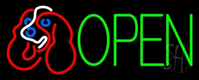 Dog Logo Open Neon Sign