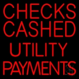 Red Checks Cashed Utility Payments Neon Sign