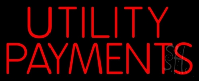Red Utility Payments Neon Sign