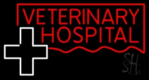 Veterinary Hospital With Plus Logo Neon Sign