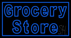 Blue Grocery Store Neon Sign
