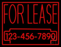 For Lease With Phone Number Neon Sign