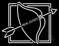 Real Estate With Arrow Logo Neon Sign