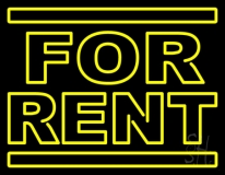 Yellow For Rent Neon Sign