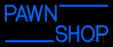 Blue Double Stroke Pawn Shop 1 Neon Sign