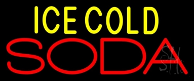 Ice Cold Double Stroke Soda 1 Neon Sign