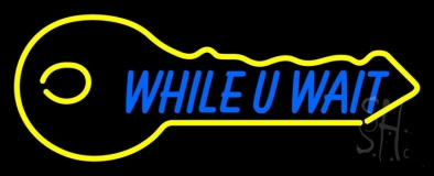 While You Wait Key Logo 1 Neon Sign