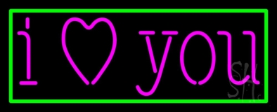 Pink I Love You With Green Border Neon Sign