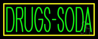 Drugs Soda With Yellow Border Neon Sign