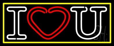 I Love You With Yellow Border Neon Sign