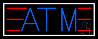 Blue Atm White Border Neon Sign