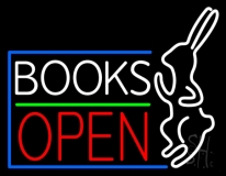 Books With Rabbit Logo Open Neon Sign