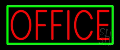 Red Office With Green Border Neon Sign
