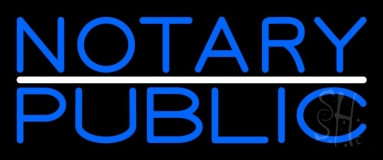 Blue Notary Public With White Line Neon Sign