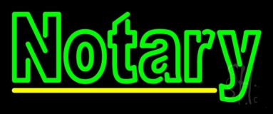 Double Stroke Green Notary Neon Sign