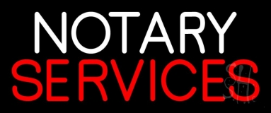 Notary Services Open Neon Sign