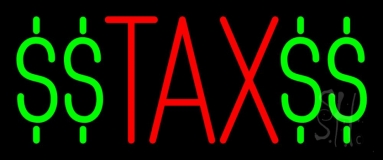 Red Tax With Dollar Logo Neon Sign