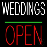 Weddings Block Open Green Line Neon Sign