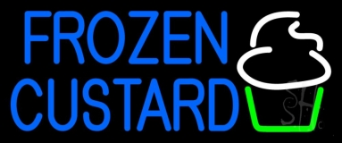 Blue Frozen Custard With Logo 2 Neon Sign