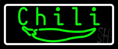 Green Chili With Border Neon Sign