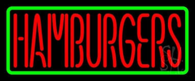 Red Humburgers Green Border Neon Sign
