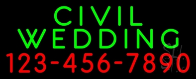 Civil Wedding With Phone Number Neon Sign