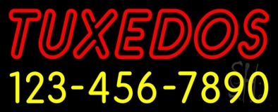 Double Stroke Tuxedos With Phone Numbers Neon Sign