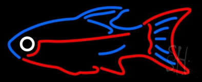 Blue Red Fish Neon Sign