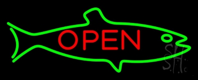 Fish Logo Open Neon Sign