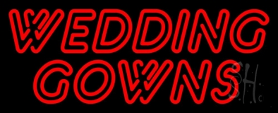 Red Double Stroke Wedding Gowns Neon Sign