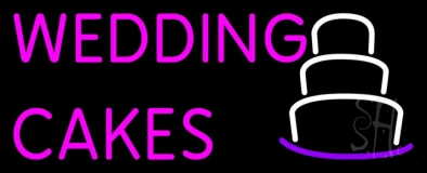Wedding Cakes In Pink Neon Sign