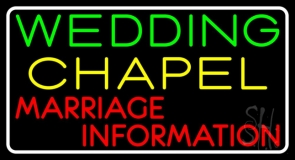 White Border Wedding Chapel Marriage Information Neon Sign
