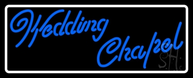 White Border Wedding Chapel Neon Sign