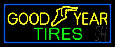 Goodyear Tires Blue Border Neon Sign