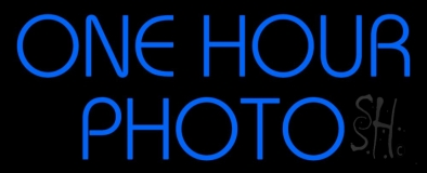 Blue One Hour Photo Block Neon Sign