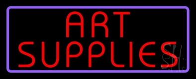 Red Art Supplies With Border Neon Sign