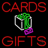 Red Cards And Gifts Block Neon Sign