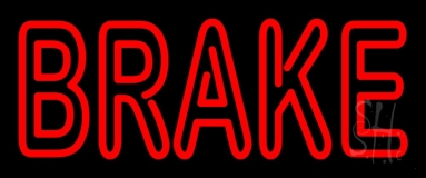 Red Double Stroke Brake Neon Sign