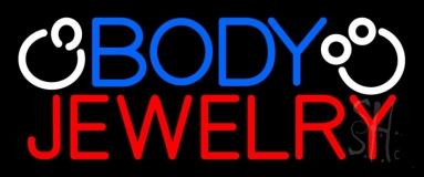 Blue And Red Body Jewelry Block Logo Neon Sign