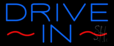 Blue Drive In Neon Sign